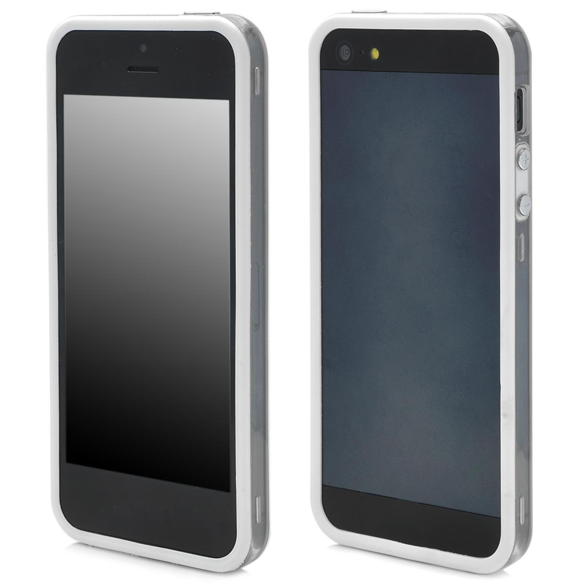 Protective TPU Bumper Frame Case for Iphone 5 - White + Transparent
