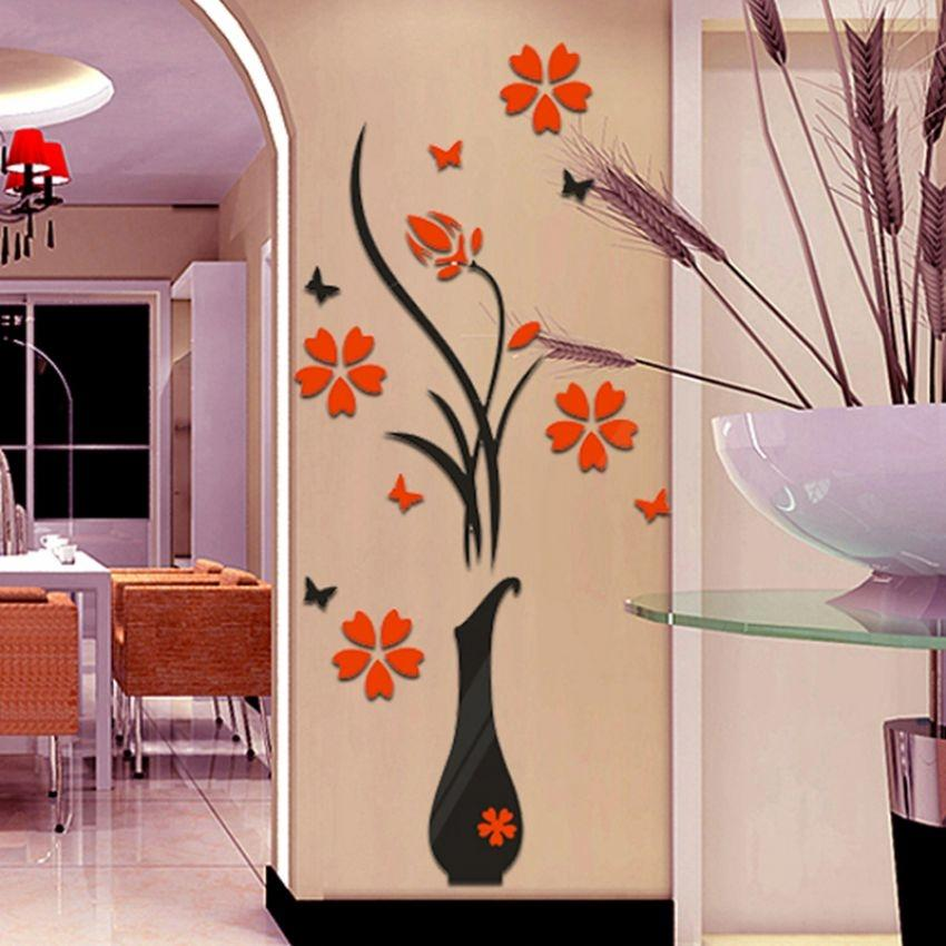 3D Vase Flower Tree Crystal Arcylic Wall Sticker