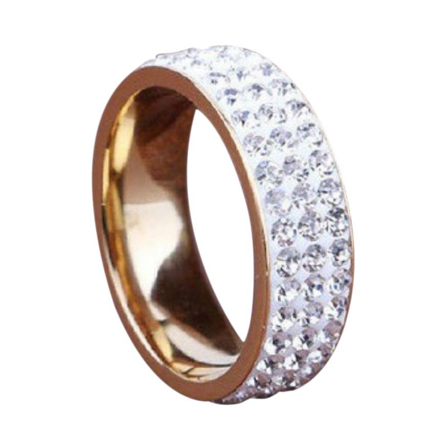 Women's 8mm Band Ring Filled Crystal Sapphire