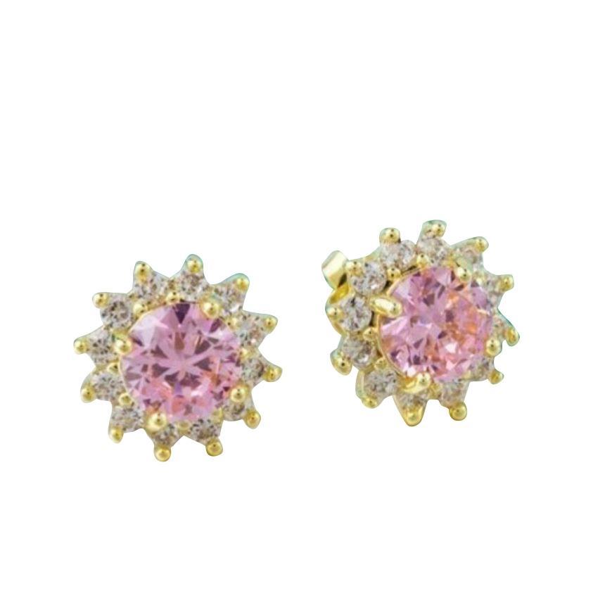Women's Gold Plated Pink CZ Flower Stud Earrings