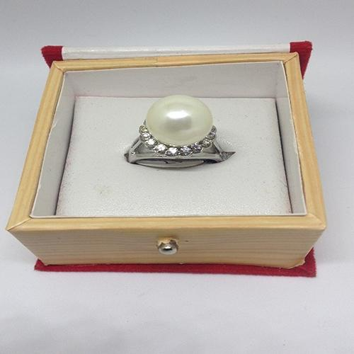 Women Silver Plated  Pearl & White Crystal Ring