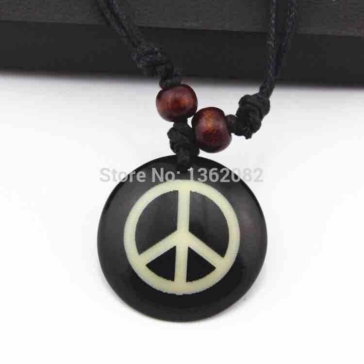 Handmade Resin Carving Peace Pendants Necklace