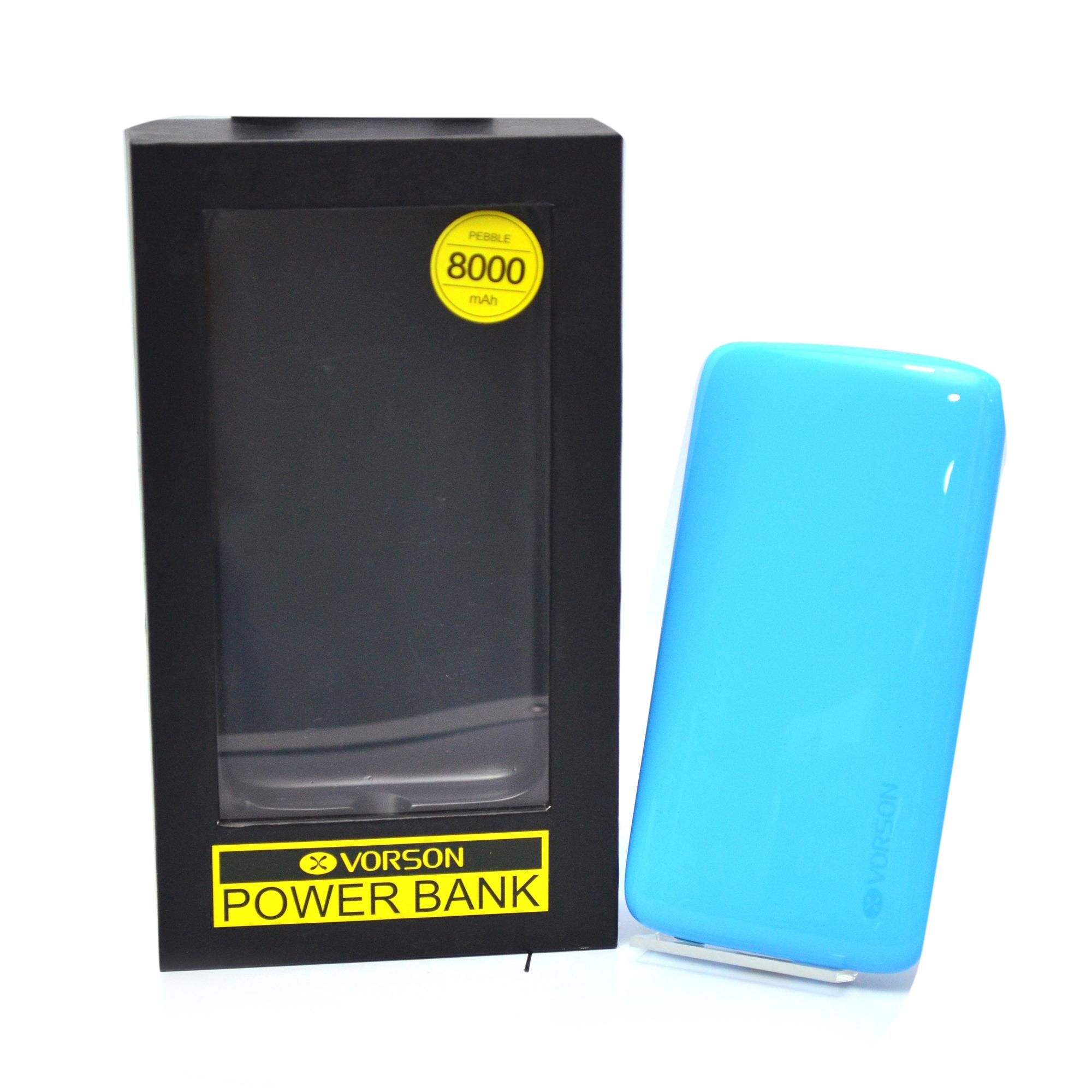 Pebble 8000mAh USB Power Bank - Light Blue