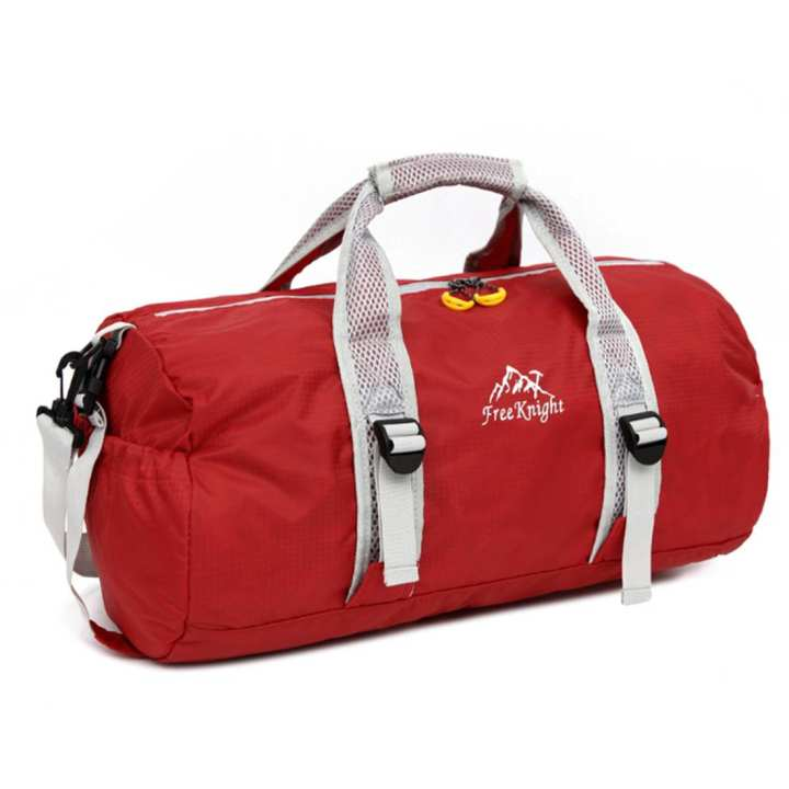 Foldable Big Capacity Polyester Tote Duffel Bag Single-shoulder Gym Travel Bag - Red