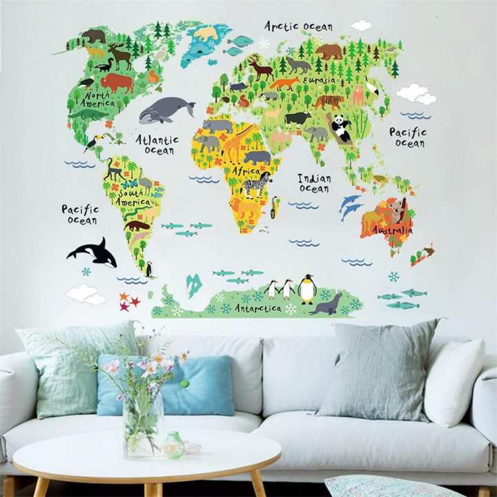 Animal World Map Wall Stickers for Kids Rooms, Living Room Home Decorations Decal Mural Art DIY Office Wall Art - Wild Life