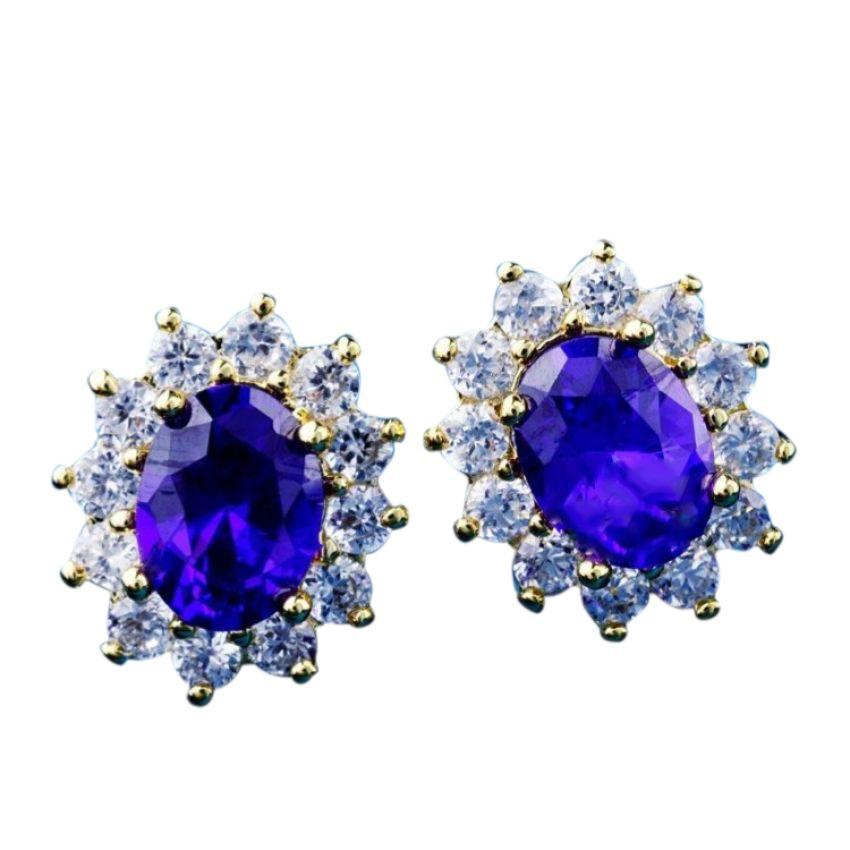 Women's Gold Plated Royal Blue CZ Flower Earrings