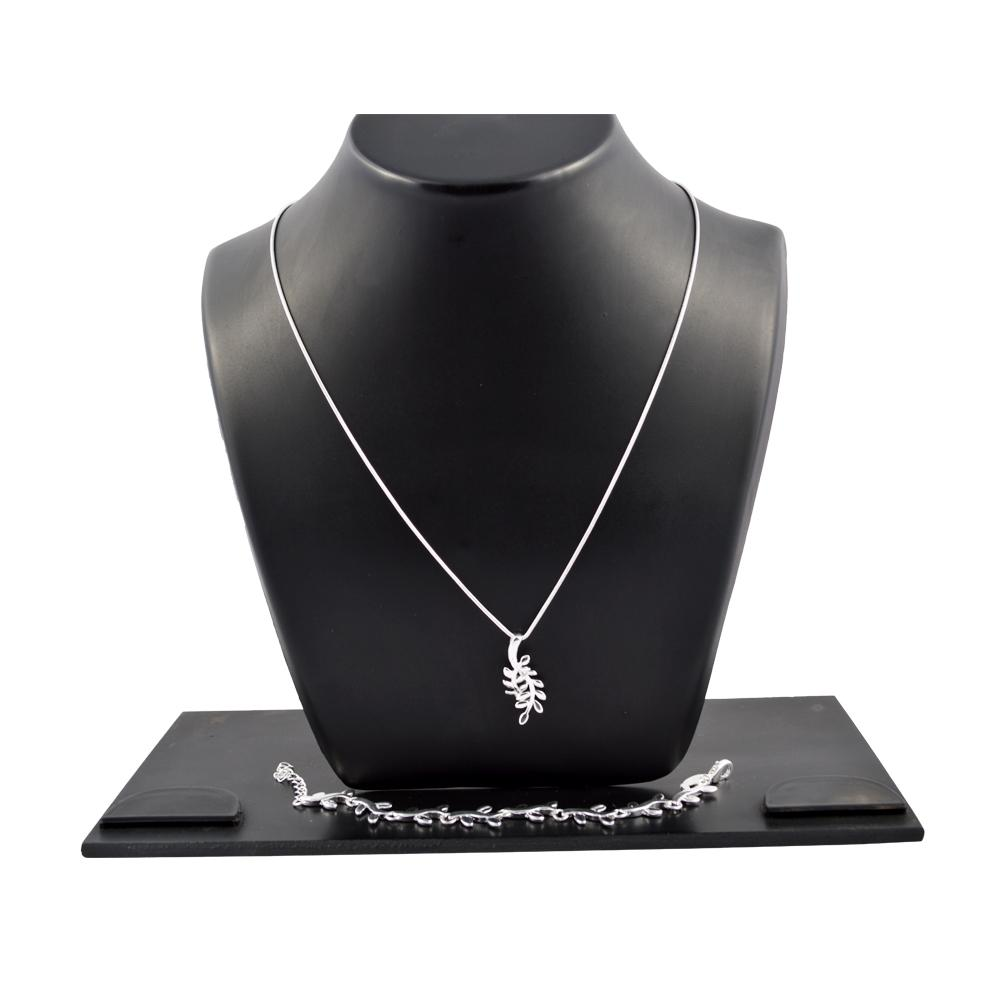 Combo Of Women's Chain With Leaf Pendent + Silver Bracelet