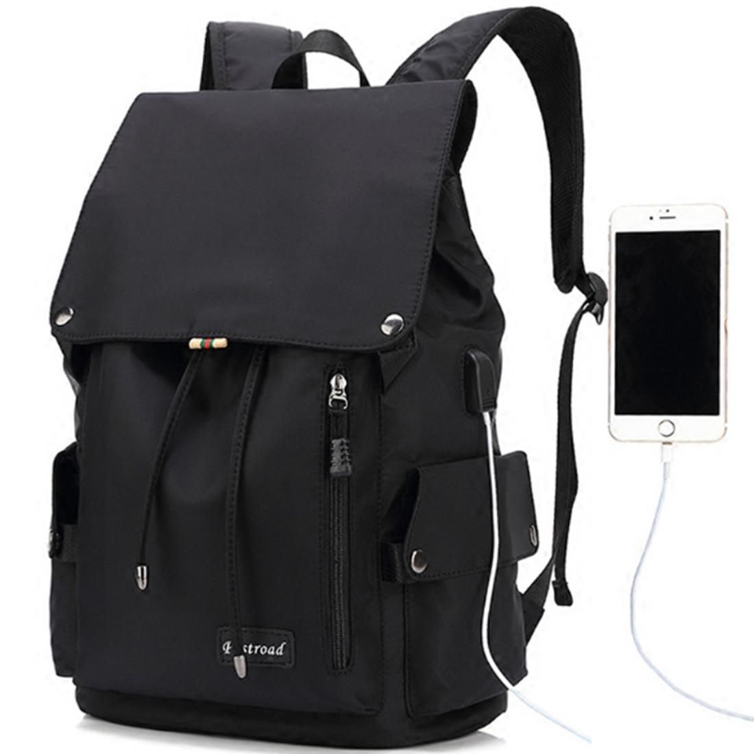 Male Nylon Backpack Big Capacity Outdoor Travel School Bag with USB Charging Port - Black