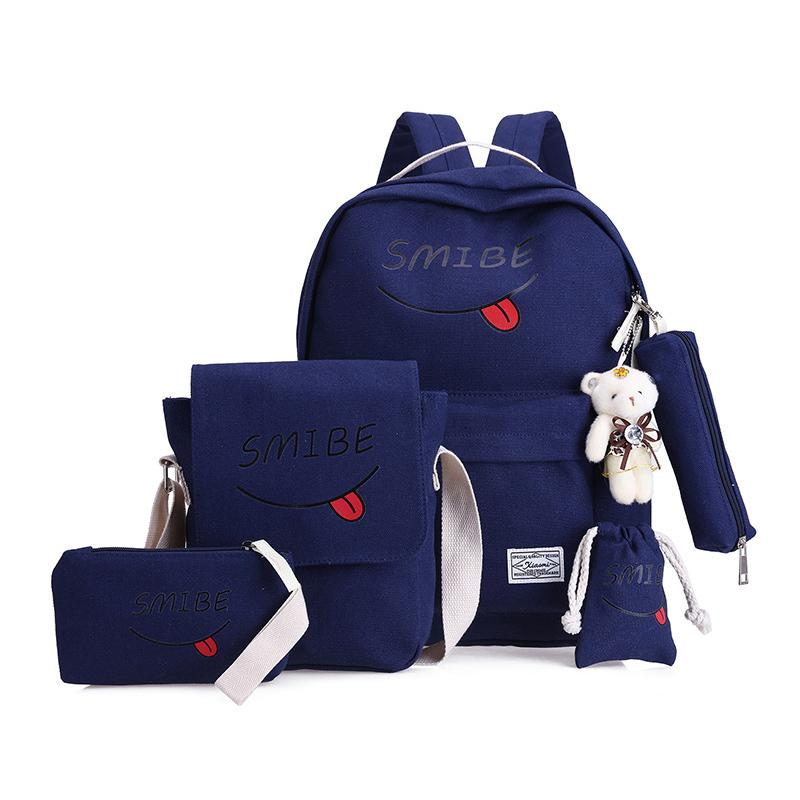 6pcs Large Capacity Canvas Backpack Sets Cute School Bag With Bear For Girls  Women f19a31c8c4322