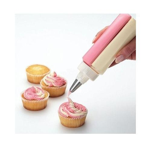 Double Decorator Multi Utility Two Color Icing Piping Cake Cream Pastry Decorating Bottle with Stainless Steel Nozzle