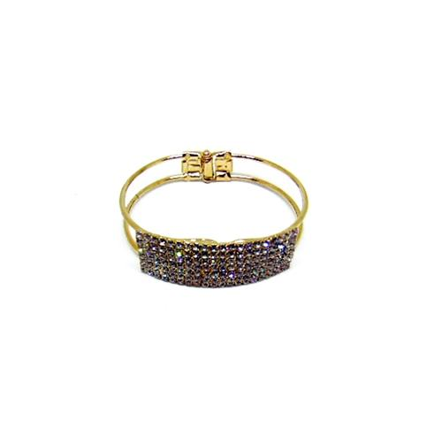 Women's White Crystal Gold Plated Bangle