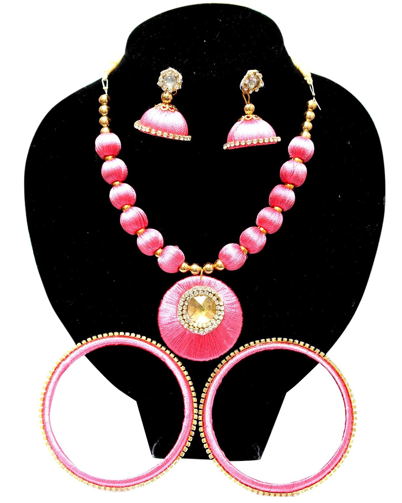Pink Thread Work Necklace With Bangles & Earings