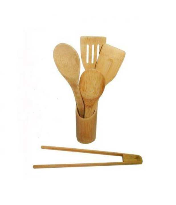 Bamboo Cooking Utensil Set with Utensils Holder
