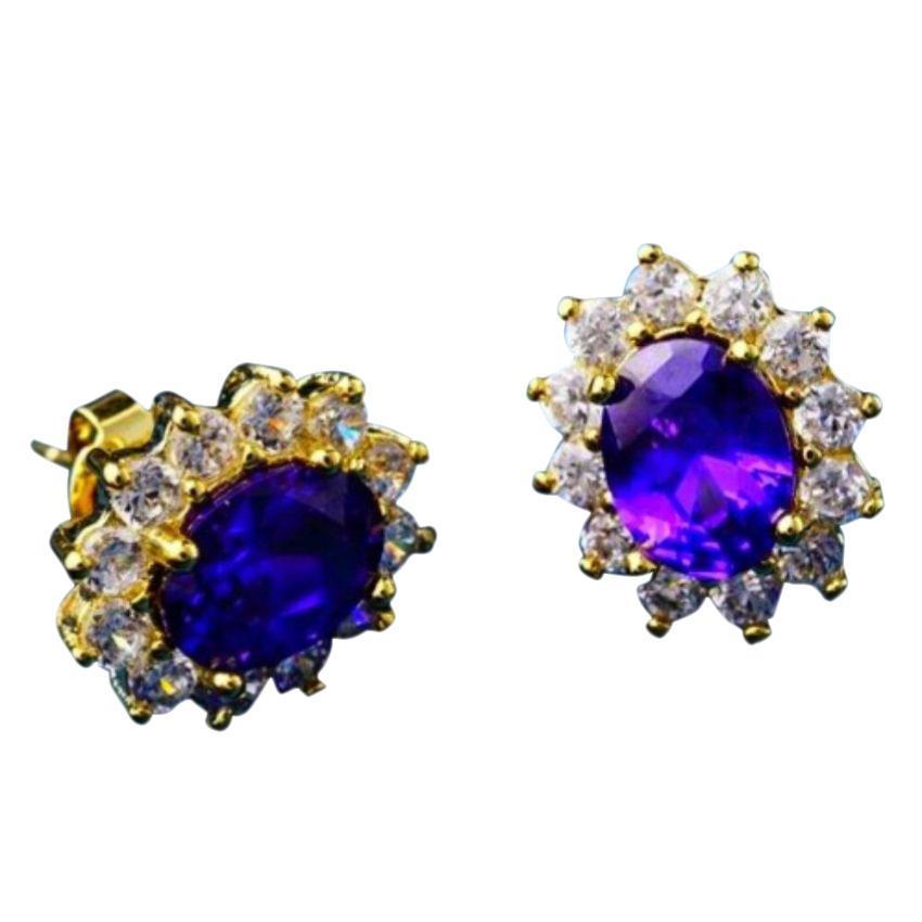 Women's Gold Plated Purple CZ Flower Earrings