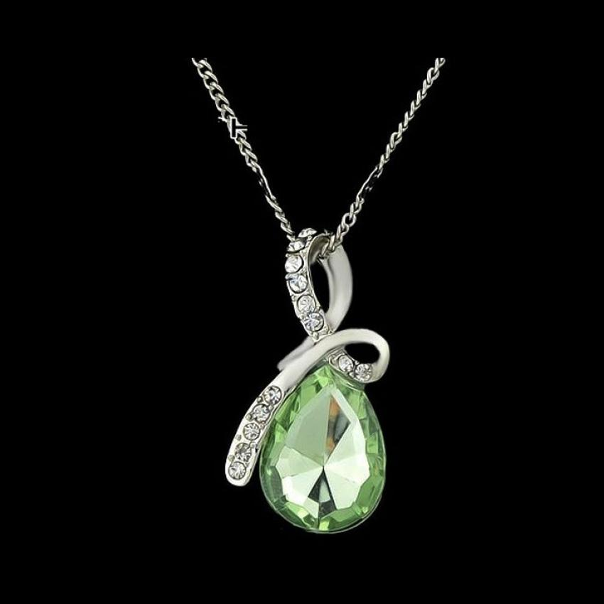Crystal Drop Pendant with Chain