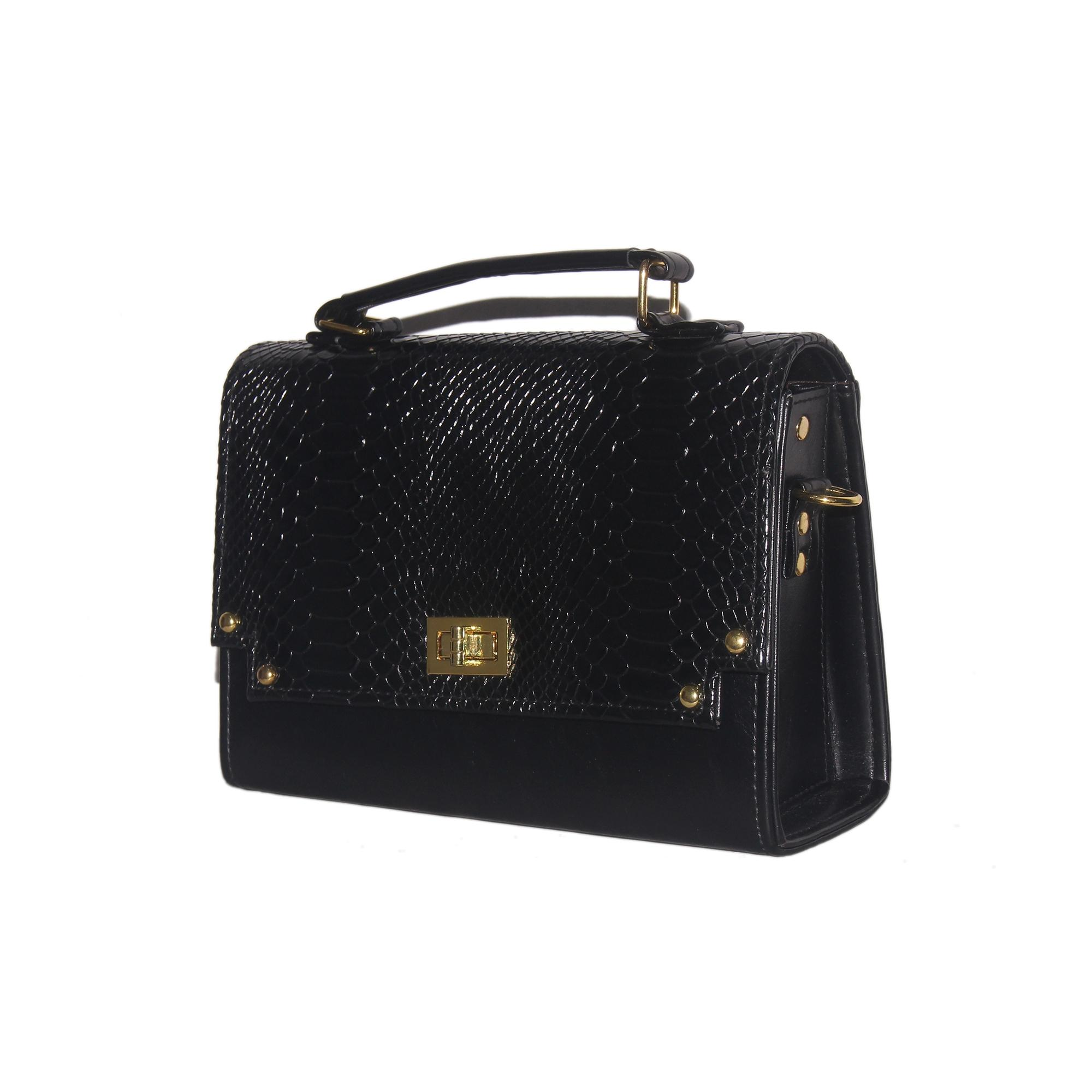 Women's Leather Hand Bag - Black