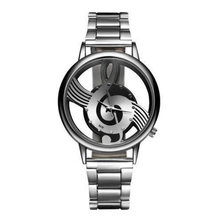 Stylish Hollow Out Musical Note Shape Watch Alloy Strap Men's Wristwatch -Silver