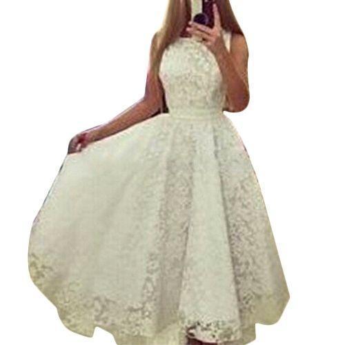 Bluelife Elegant Women Sleeveless Lace Party Dress
