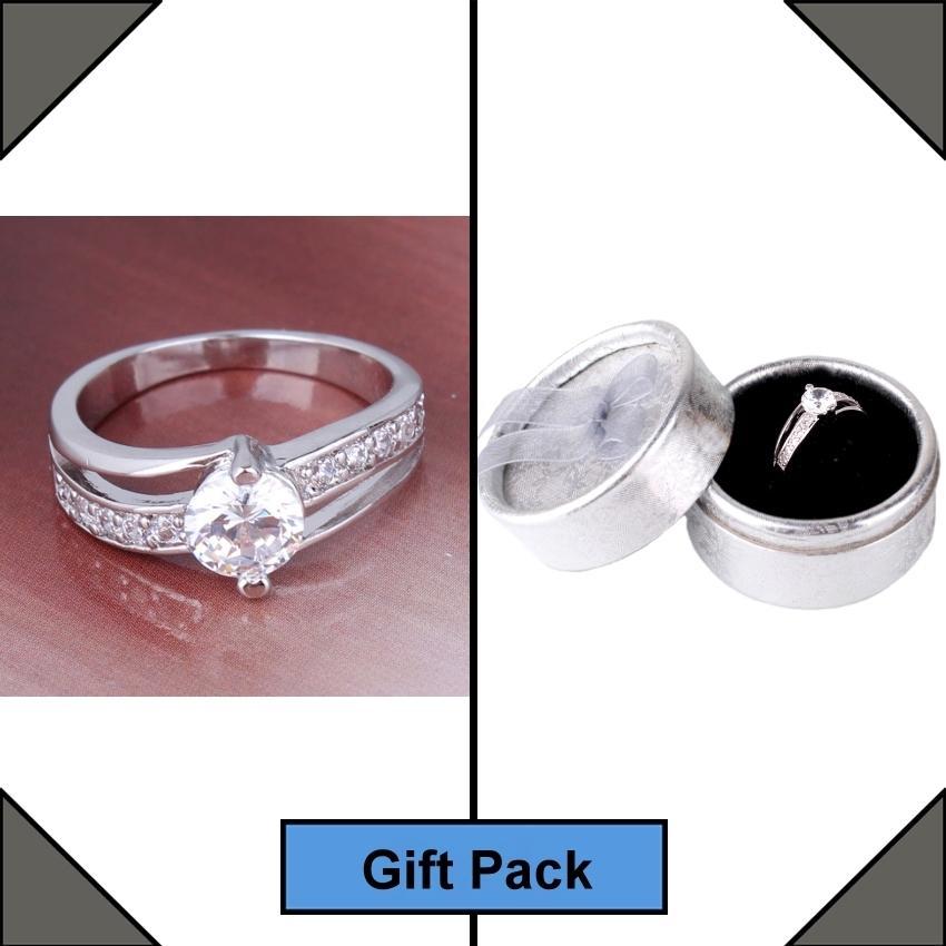 18K White Gold Plated Swarovski Crystal Ring
