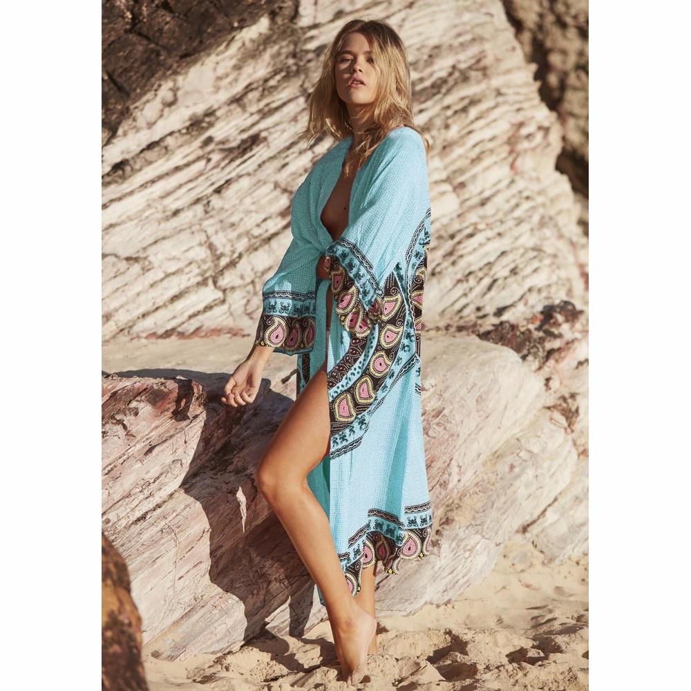 40a23b28a57 Summer Beach Cover-up Women Long Beach Cardigan Chiffon 3D Floral Print Sun  Protection Loose