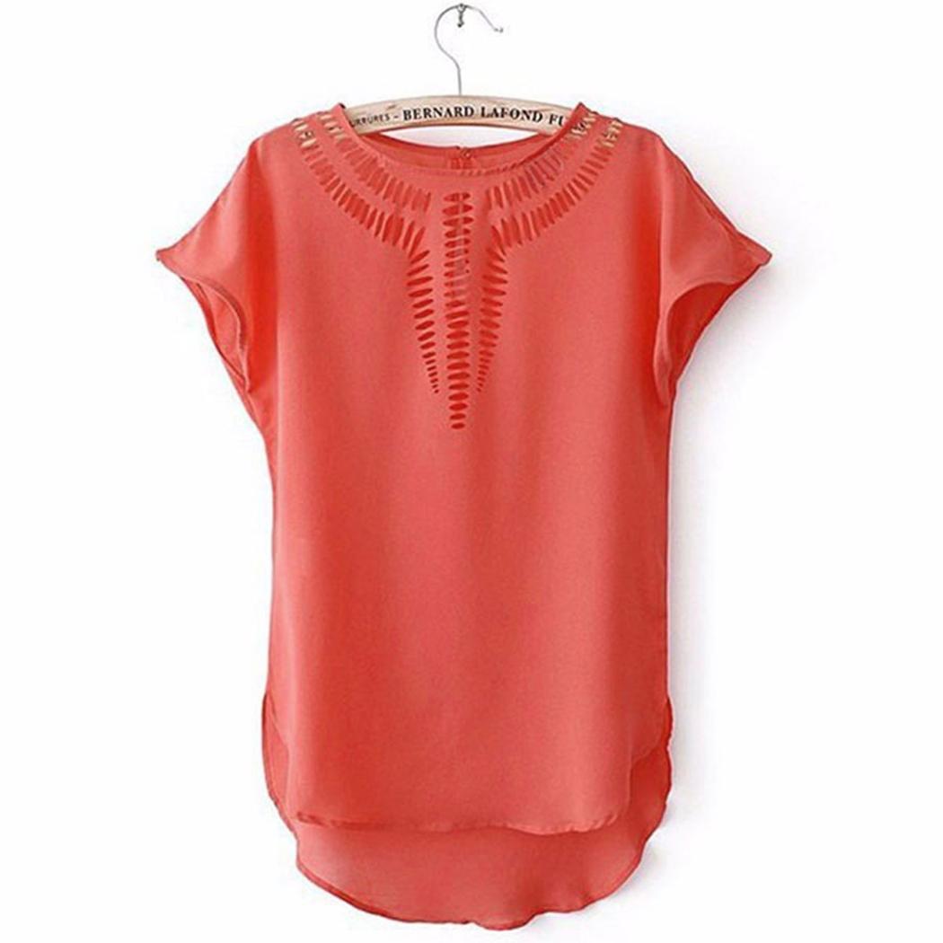 Women's Orange Batwing Short Sleeve Top