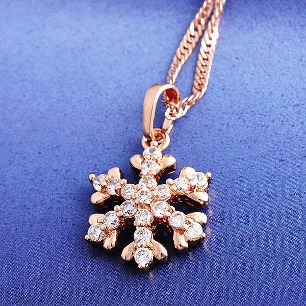 Women's 18K Rose Gold filled Snowflake Pendant & Chain