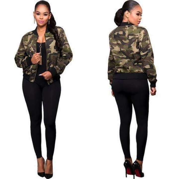 Autumn Women Camouflage Loose Baseball Jacket
