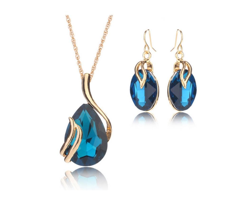 Gold Plated Blue Crystal Jewelry Set