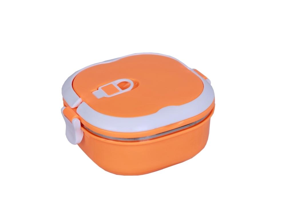 Stainless Steel Orange Square Lunch Box 0.9L