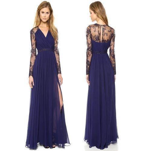 Sexy Lace Long Sleeve Chiffon Maxi Dress Women V-Neck Side Slit Party Dresses - Blue