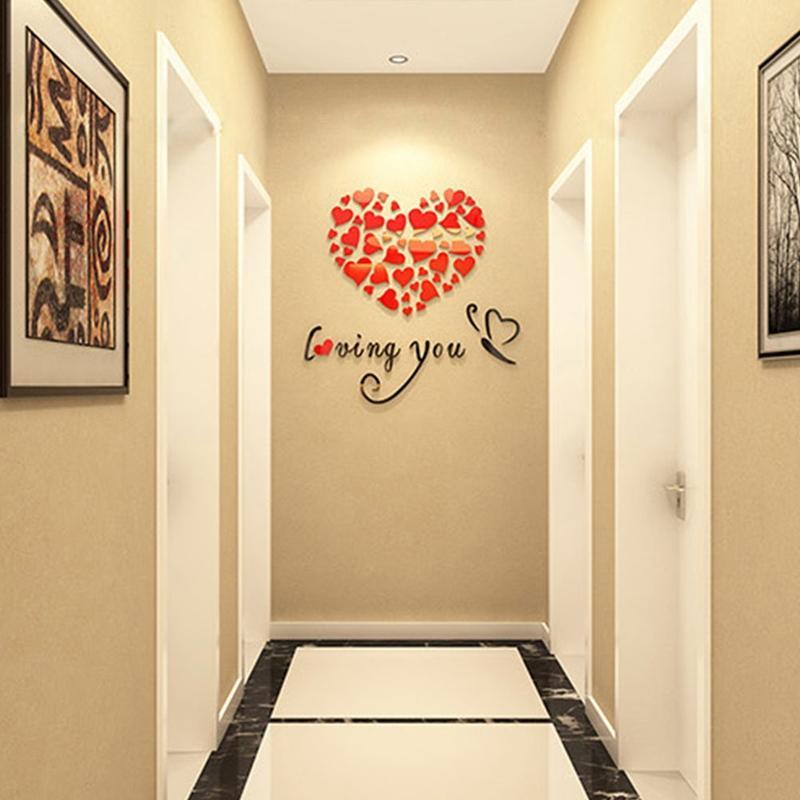 3D Mirror Acrylic Love Heart Wall Sticker