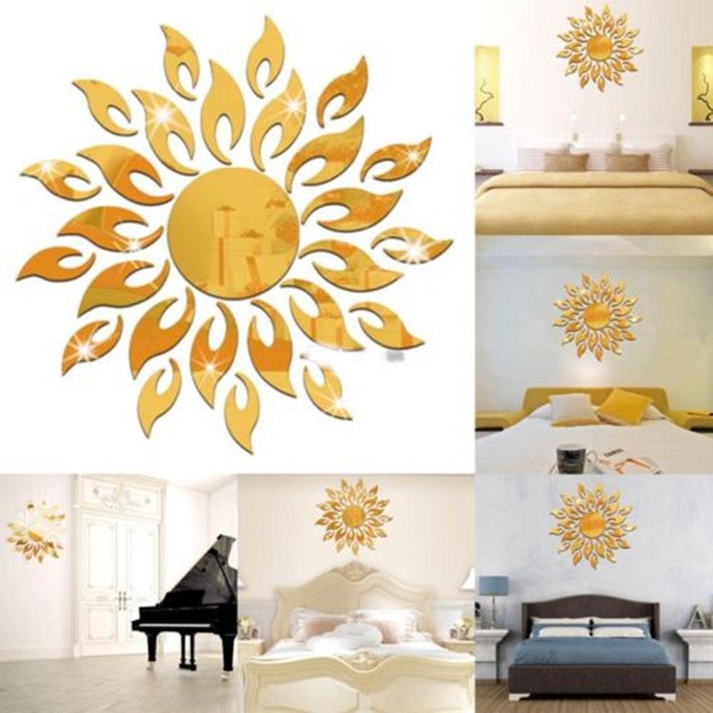 3D Sun Mirror Effect Wall Sticker