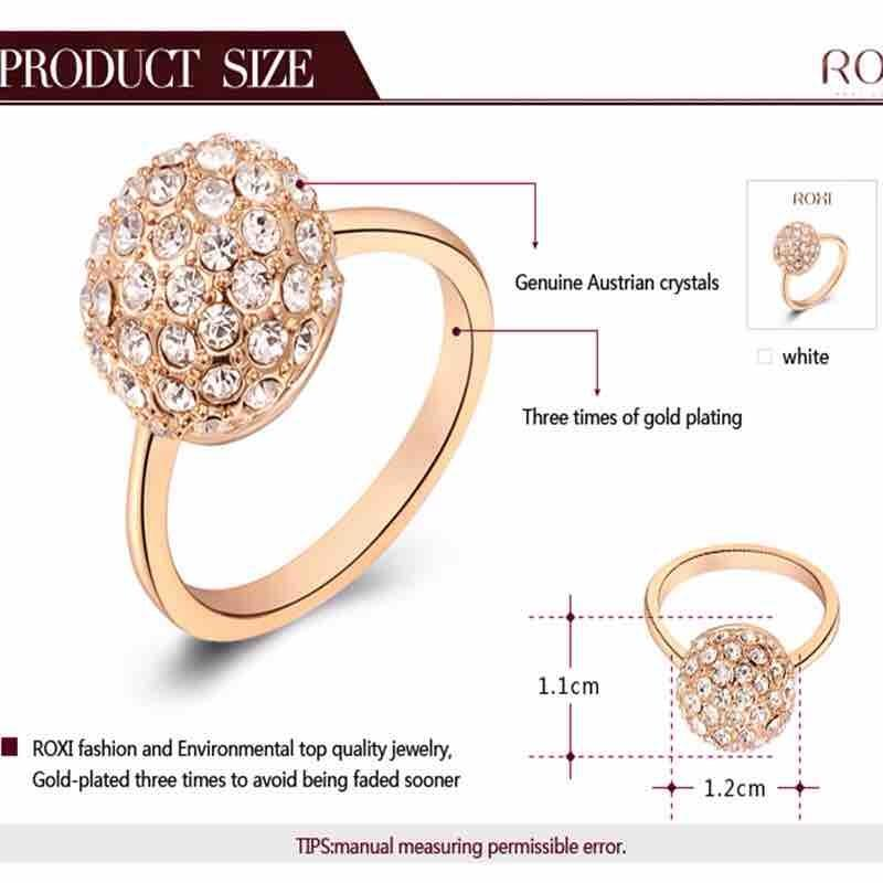 Women's Rose Gold Plated Austrian Crystal Ring
