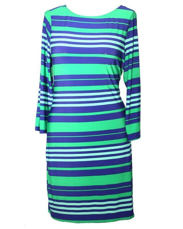 TOFO TOFO Women's Three Quarter Sleeve Striped Shift Dress