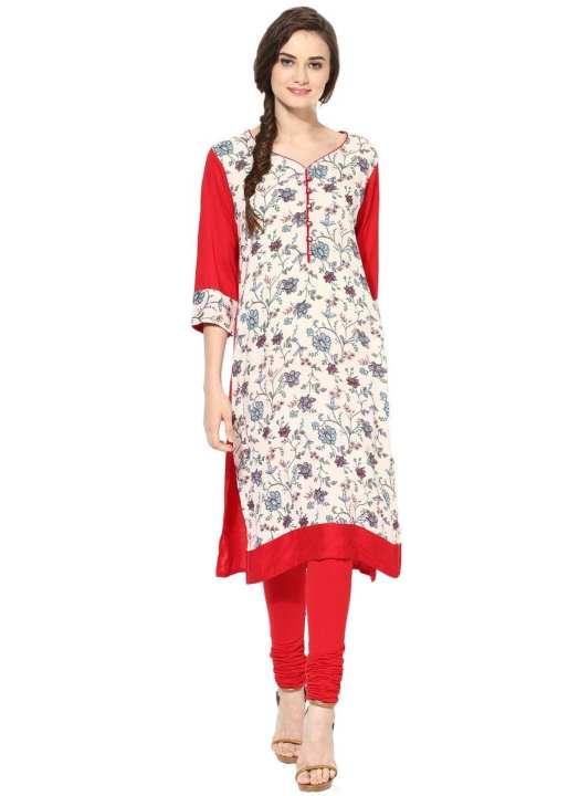 Women's Beige Red Rayon Printed V Neck 3/4 Sleeve Straight Kurti