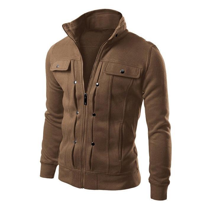 Men Fleece Coat Plus Size Turndown Collar Slim Zipper Jacket for autumn Winter
