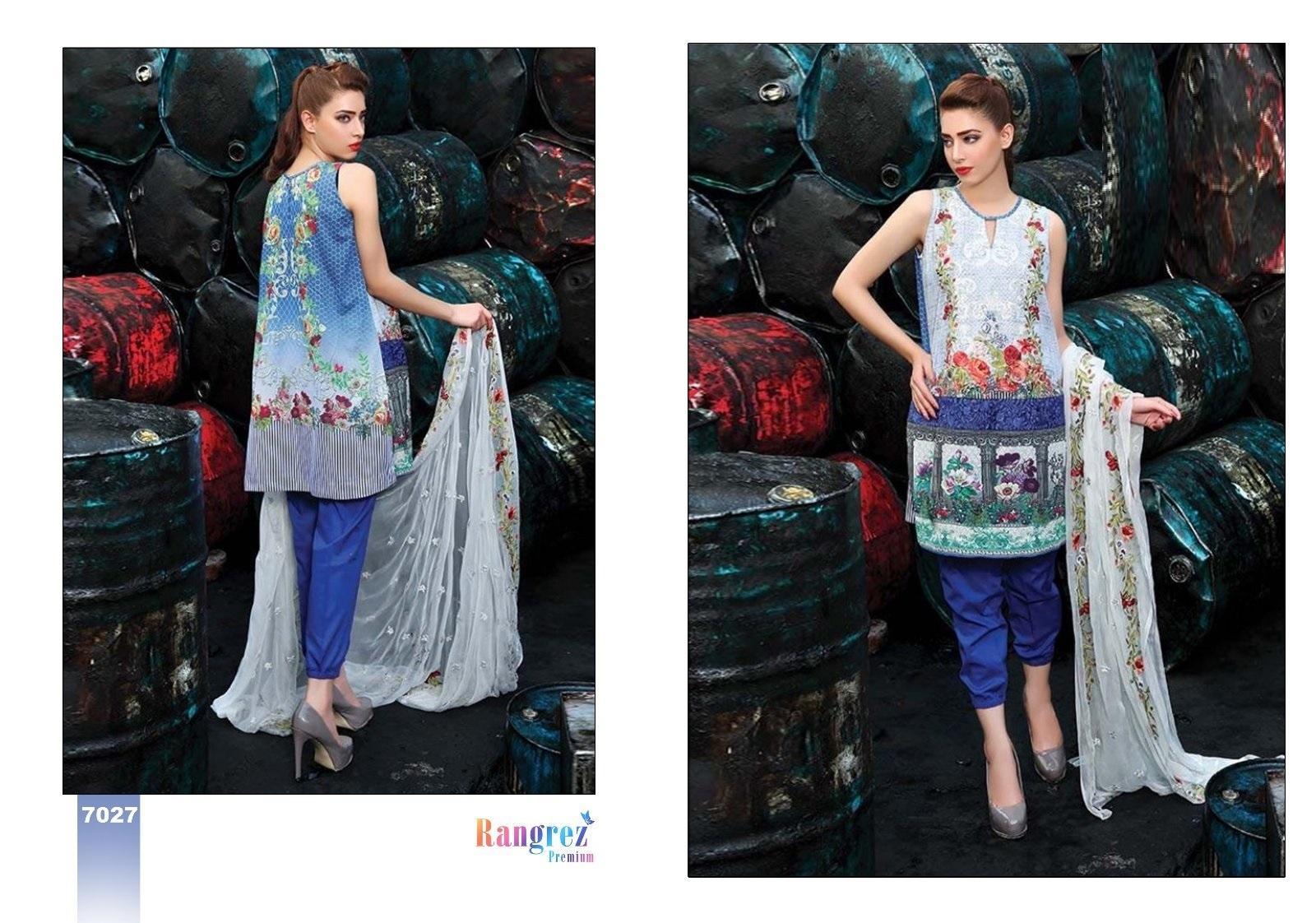 Women's Blue Lawn Cotton Shalwar