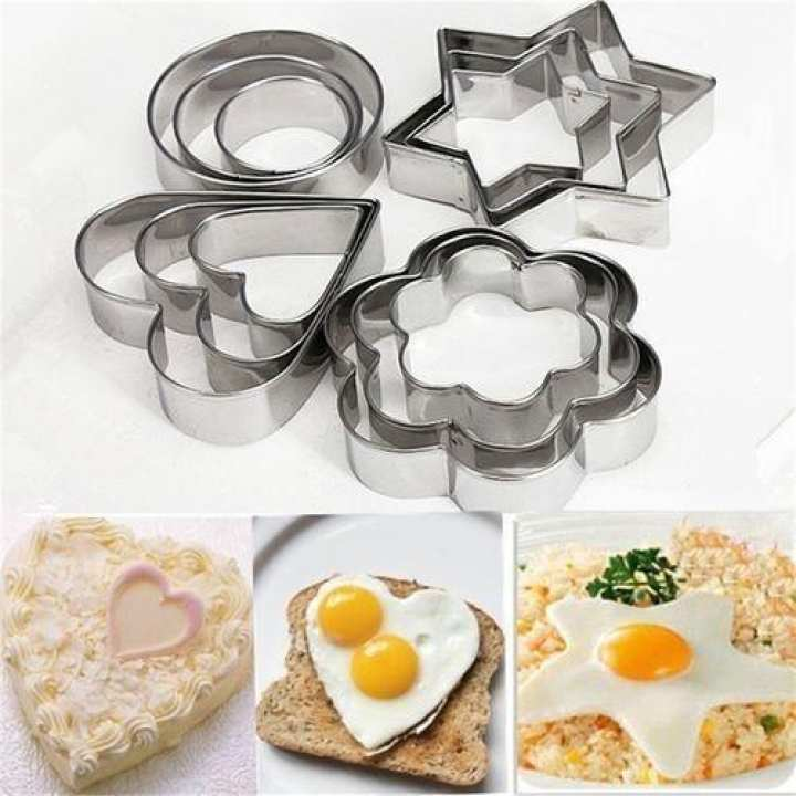 12Pcs/Set Stainless Flower/Star/Heart/Round Shape Cookie Cutter Mould - Silver