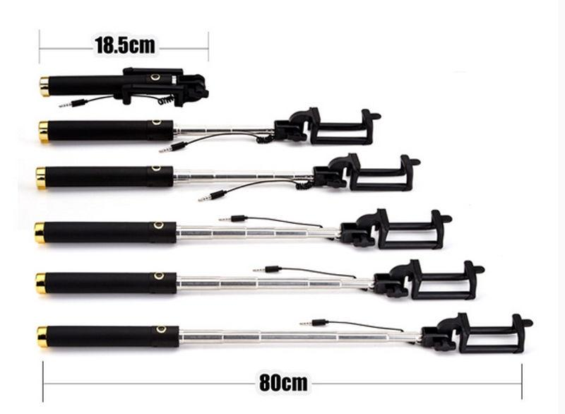 Extendable Wired Cable Selfie Stick Monopod for iPhone and Android