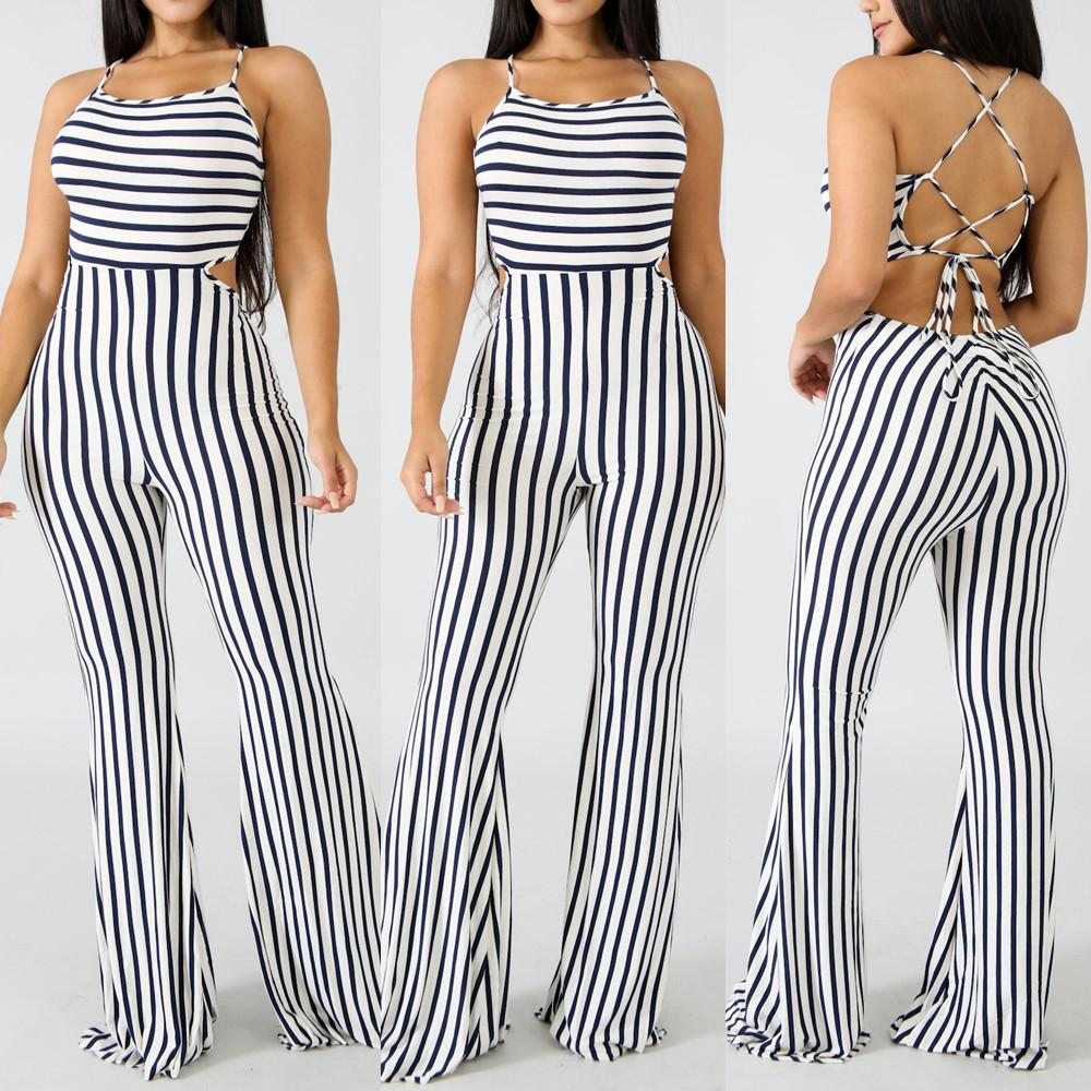 Sexy Women Sleeveless Stripe Playsuit Bodycon Party Jumpsuit Trousers