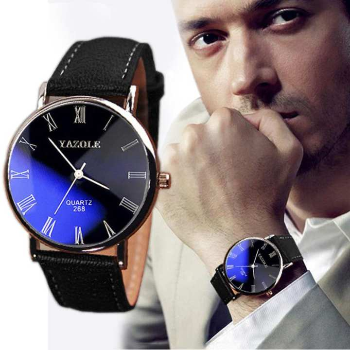Men's wristwatch Luxury Fashion Faux Leather Mens Quartz Analog Watch Watches Black