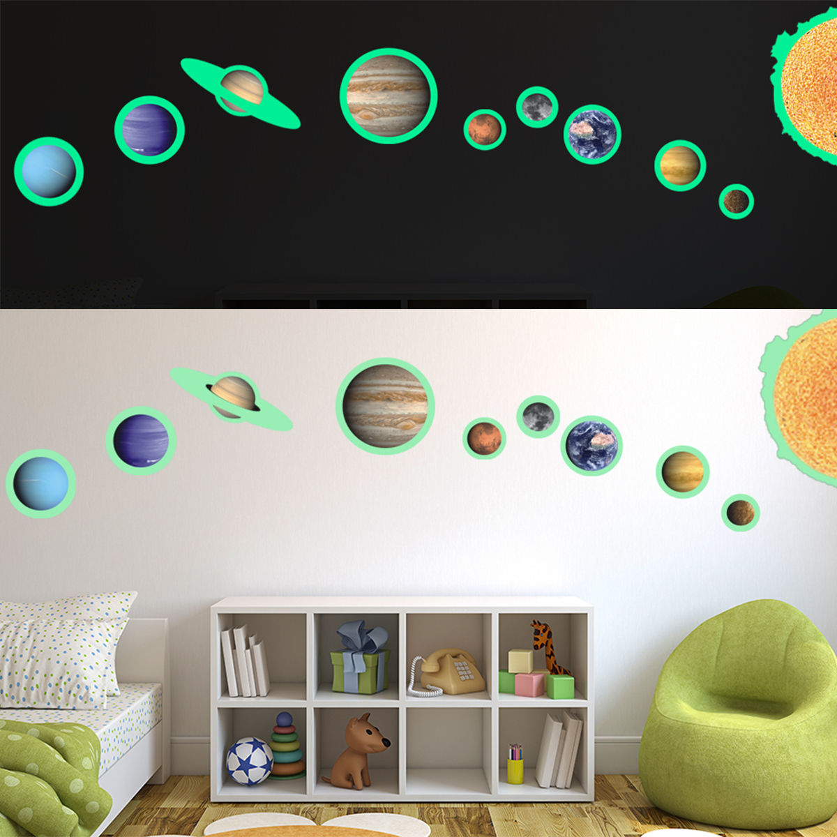 9# Planets Mars Room Decor Glow In The Dark SOLAR SYSTEM Wall Stickers