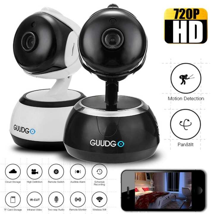 HD Cloud Wifi IP Camera Pan&Tilt IR-Cut Night Vision Two-way Audio Motion Detection Alarm - White