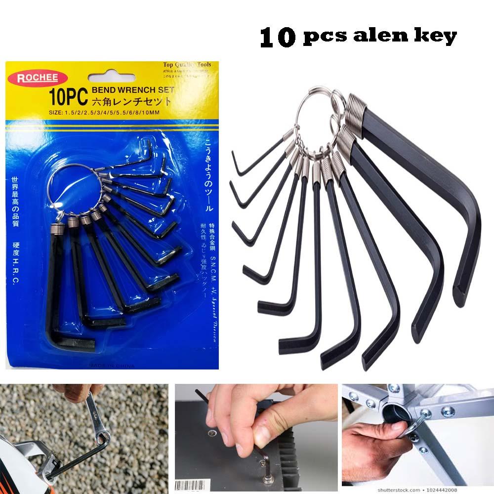 10pc Universal Allen Keys Hexagonal Wrench Alan Hex Key Set Tool Hardened Steel