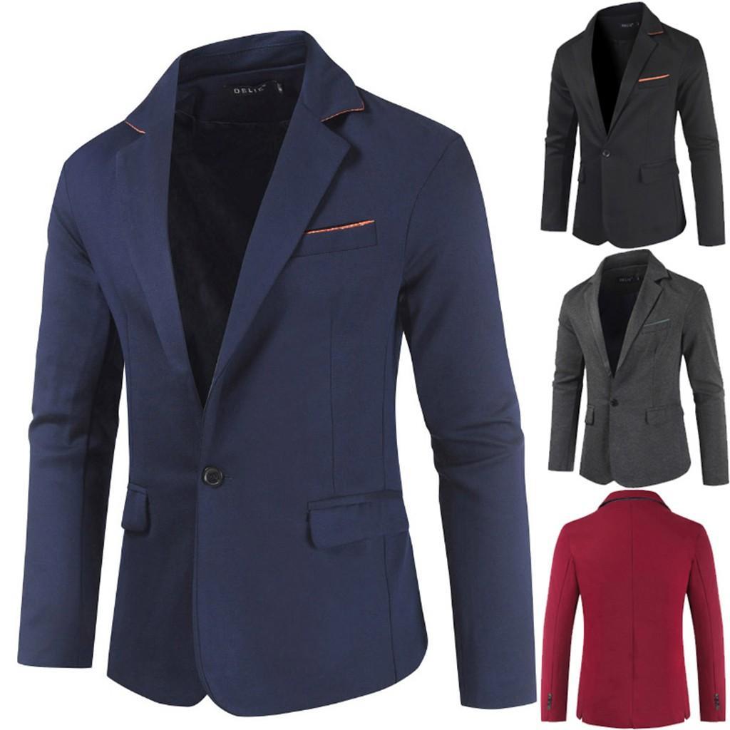 Men\u0027s New Fashion Body,Building Pure,Color Suit Business Simple Suit Coat