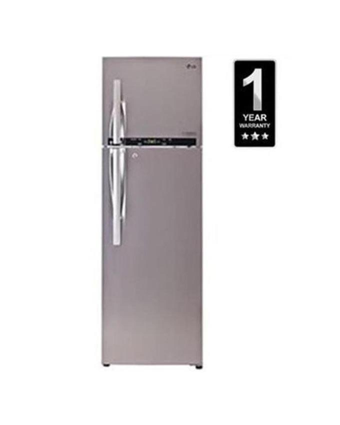 LG GLT-332RLBN 310L Double Door Shiny Steel Top Freezer Inverter Refrigerator