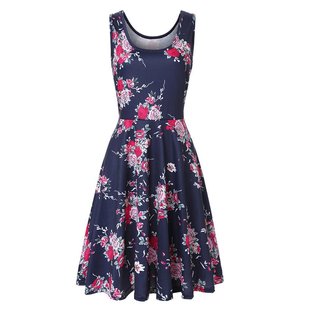 83b9dfa1d2b0f Women Sleeveless Printing Summer Beach A Line Casual Dress Floral Dress