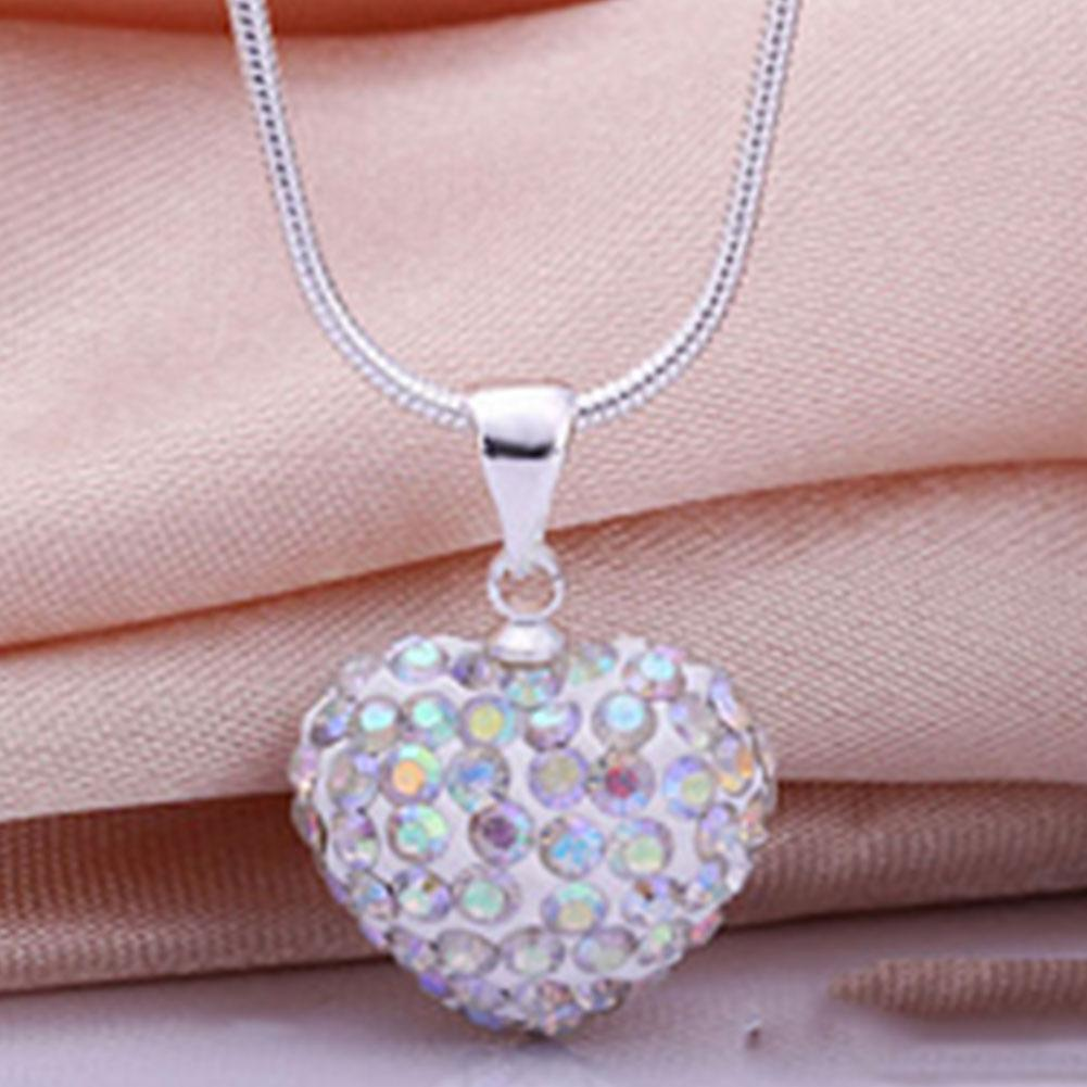 Fashion Cute Lovely Women Gilrs Crystal Heart Silver Snake Chain Necklace Gifts