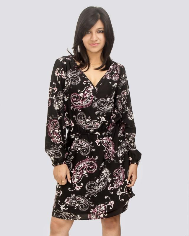 Long Sleeve Graphic Printed Black and Multicolor V Neck Dress