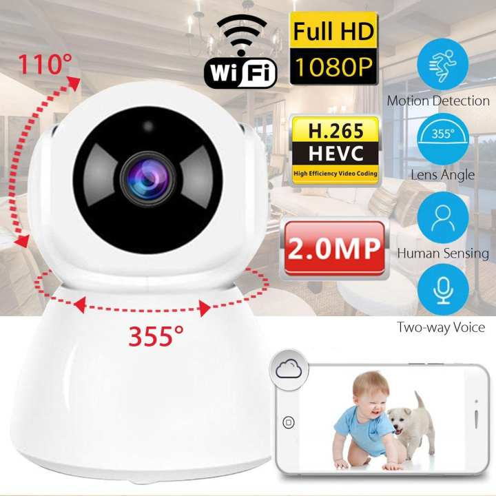 2.0MP 1080p h.265 WiFi 1080P IP Camera Home Security Network CCTV 355° Baby Pet Monitor Webcam